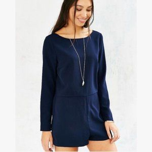 Urban Outfitters Navy Romper with Deep-V Back